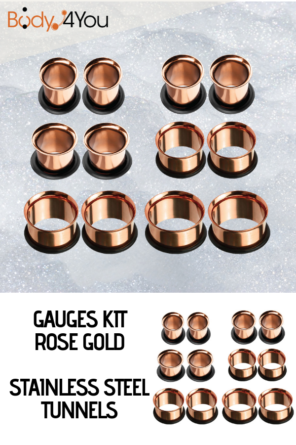 Rose Gold Ear Stretching Gauges Kit With Tunnels Ear Stretching Kit Stretched Ears Ear Stretching Plugs