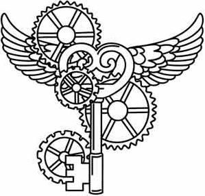 Flying Key Image Steampunk Coloring Coloring Book Art Love Coloring Pages