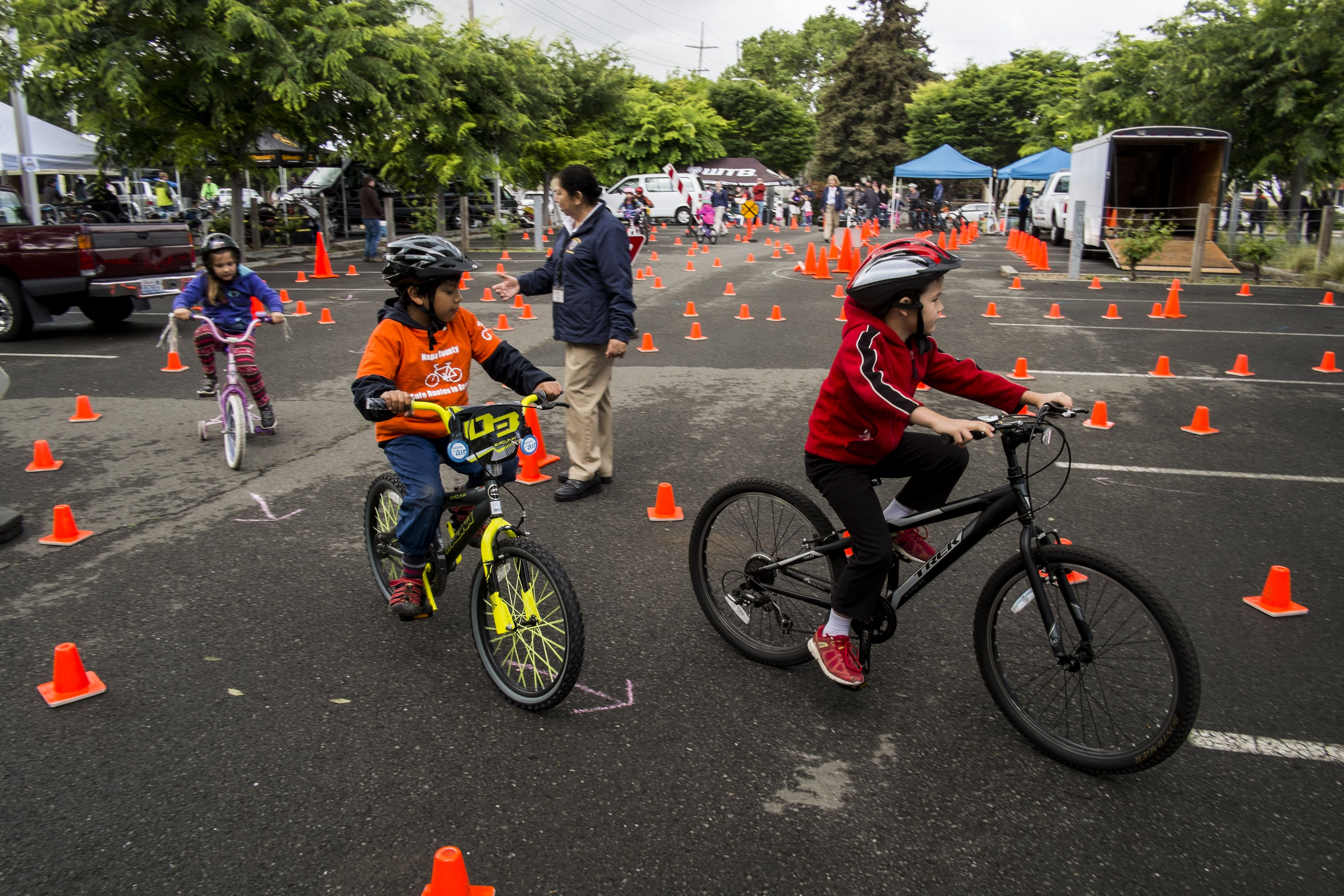 Warming up at the Napa Police Department's bike rodeo - photo by Jason Tinacci