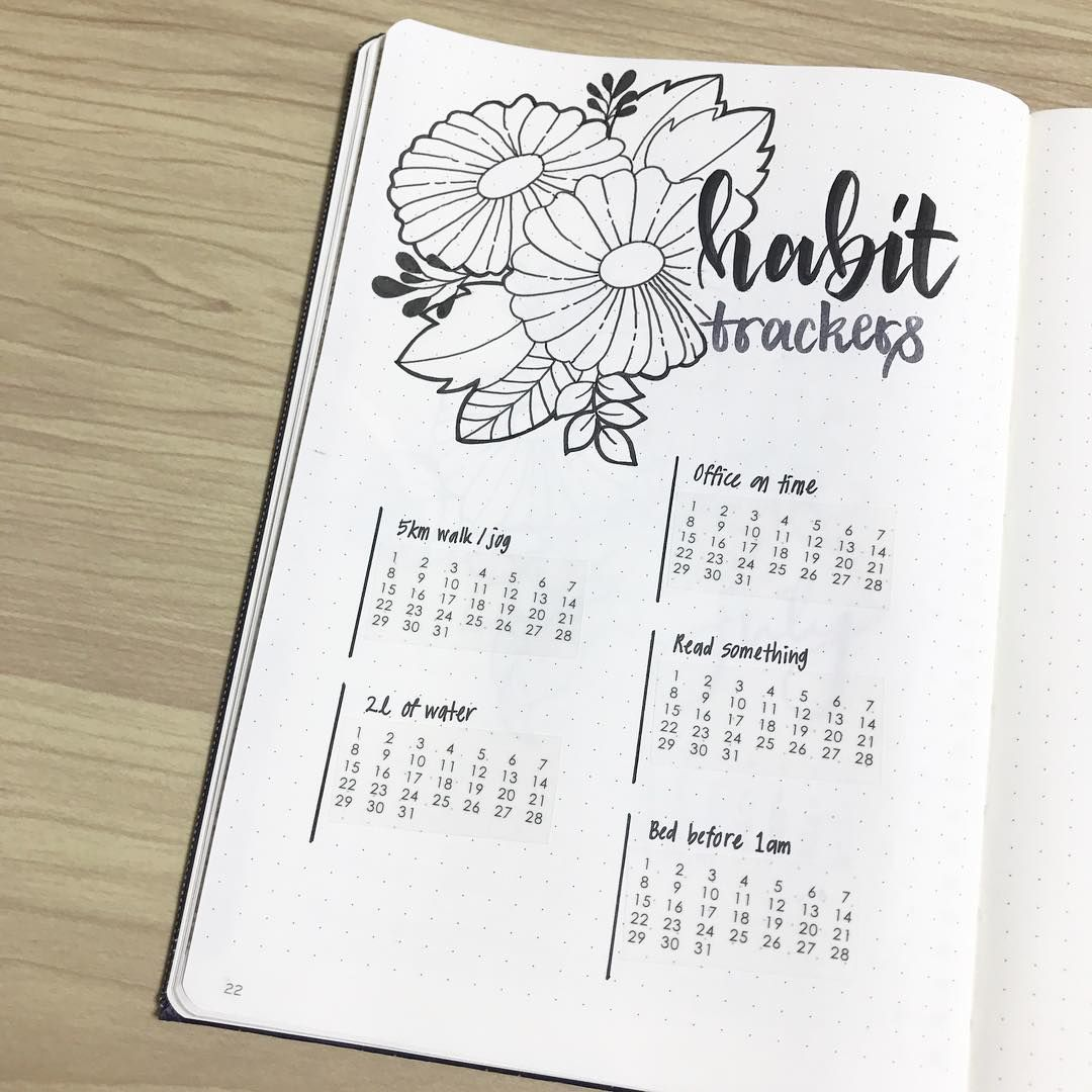 Bullet Journal Monthly Habit Tracker Flower Drawings Hand Lettering Bujocchi