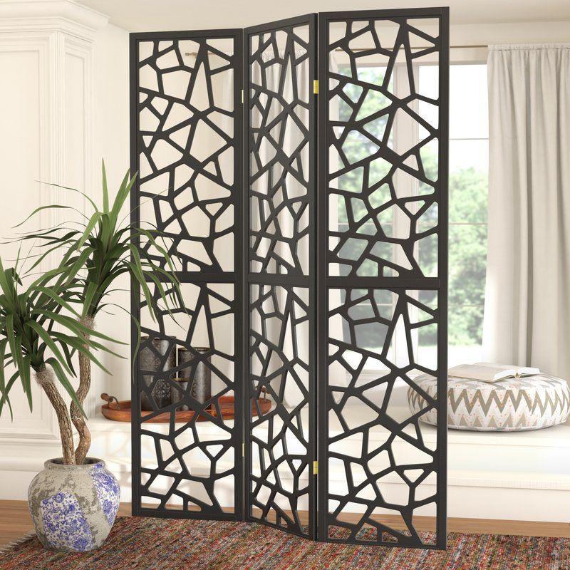 Black Intricate Mosaic Motif Design Folding Screen by Coaster 900092