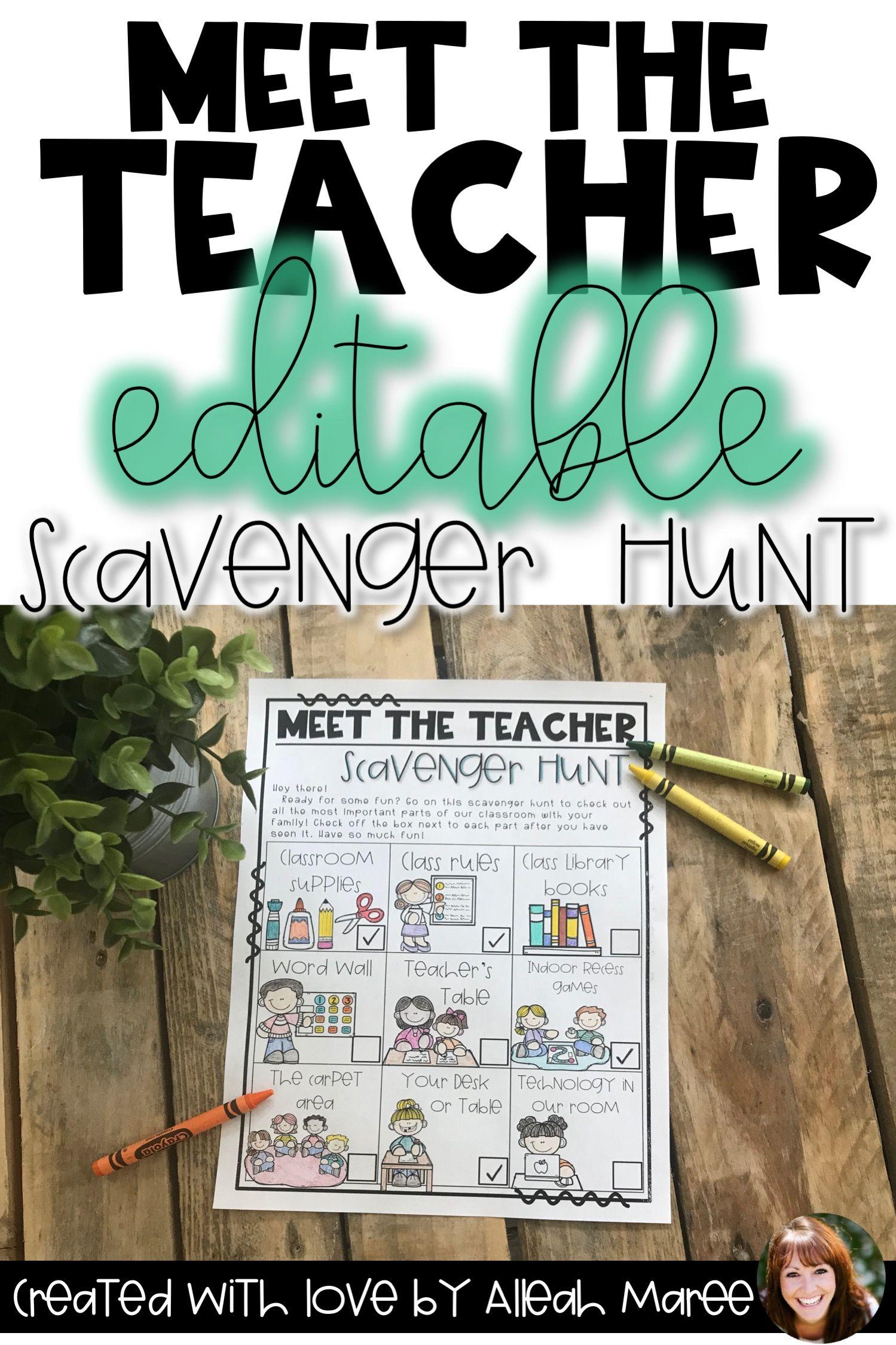 Meet the Teacher Night & Open House Scavenger Hunt - Editable #meettheteachernight