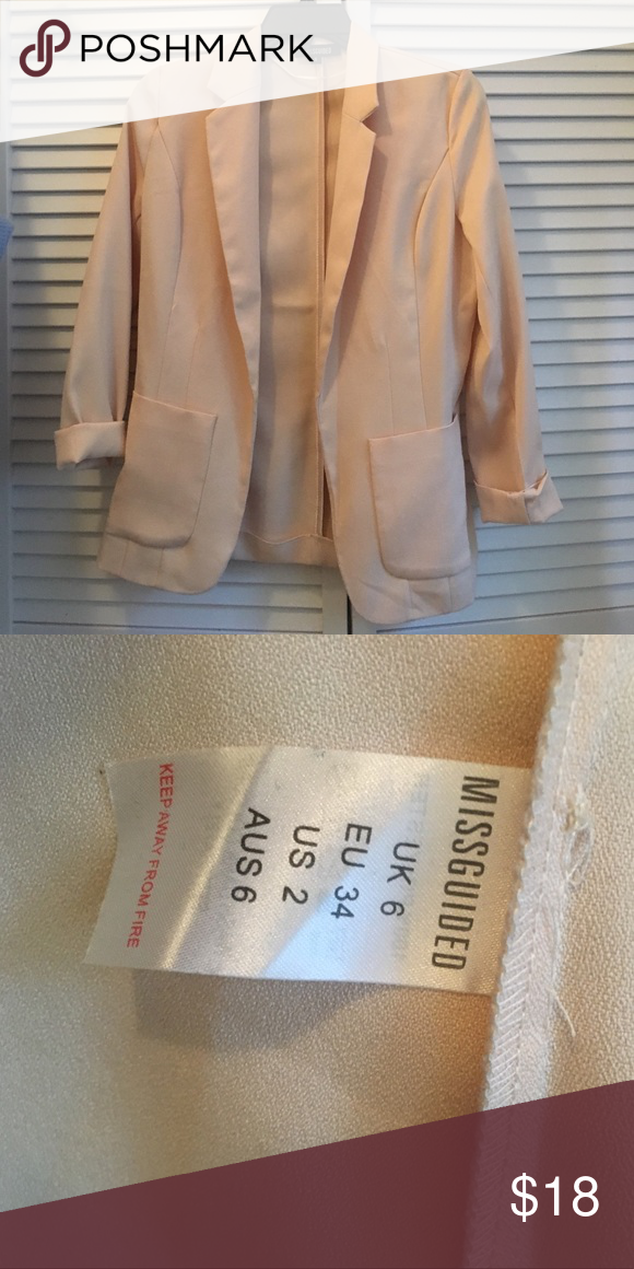 Blush Missguided Blazer Blush blazer from Missguided in AUS 6/US 2. Super light and 100% polyester. Only worn once. Missguided Jackets & Coats Blazers