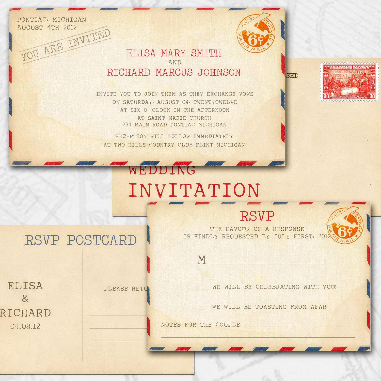 VINTAGE WEDDING Invitations Printable DIY - Vintage Airmail Set ...