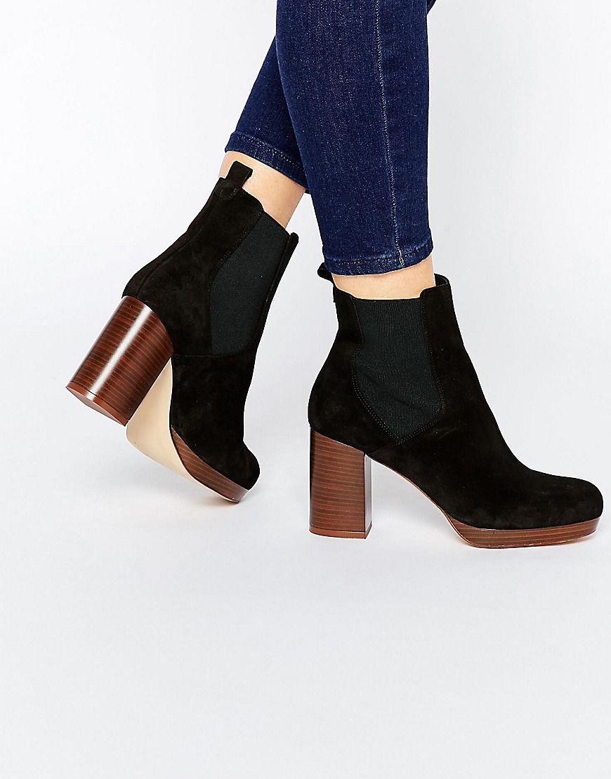 Heeled Boot Suede Premium Look Block New Real Chelsea 8wkX0nONZP