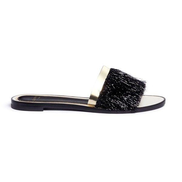 2014 new best place Lanvin Leather Crochet-Trimmed Sandals gC30EZrtg