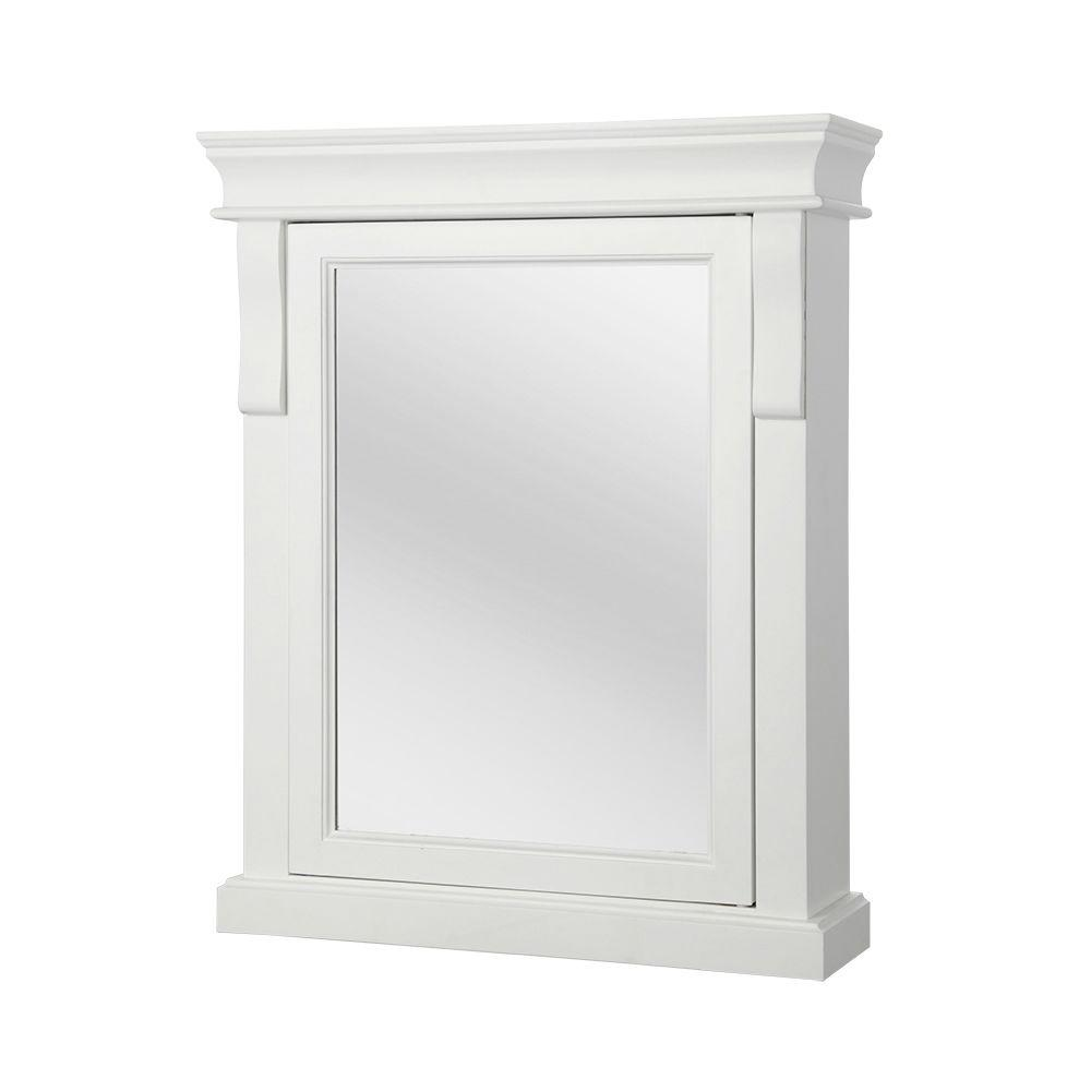 Home Decorators Collection Naples 25 In W X 31 In H X 8 In D Framed Surface Mount Bathroom Medicine Cabinet In White Bathroom Medicine Cabinet Surface Mount