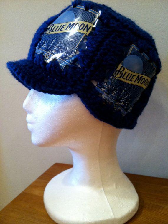 Crocheted Blue Moon Beer Can Hat | Blue Moon Art Project | Pinterest
