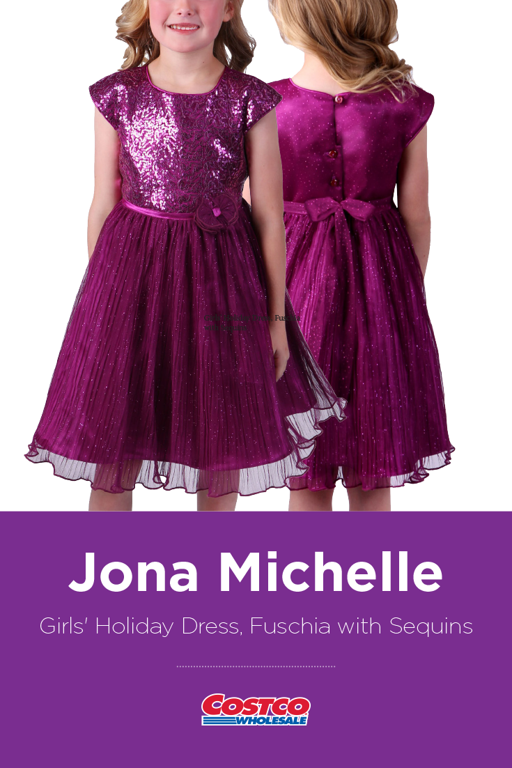49461d9ee17 Jona Michelle Girls' Holiday Dress, Fuschia with Sequins | Costco ...