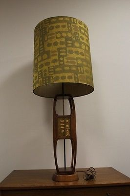 Gorgeous Tall Teak Enameled Plaque Mid Century Modern Lamp C1960