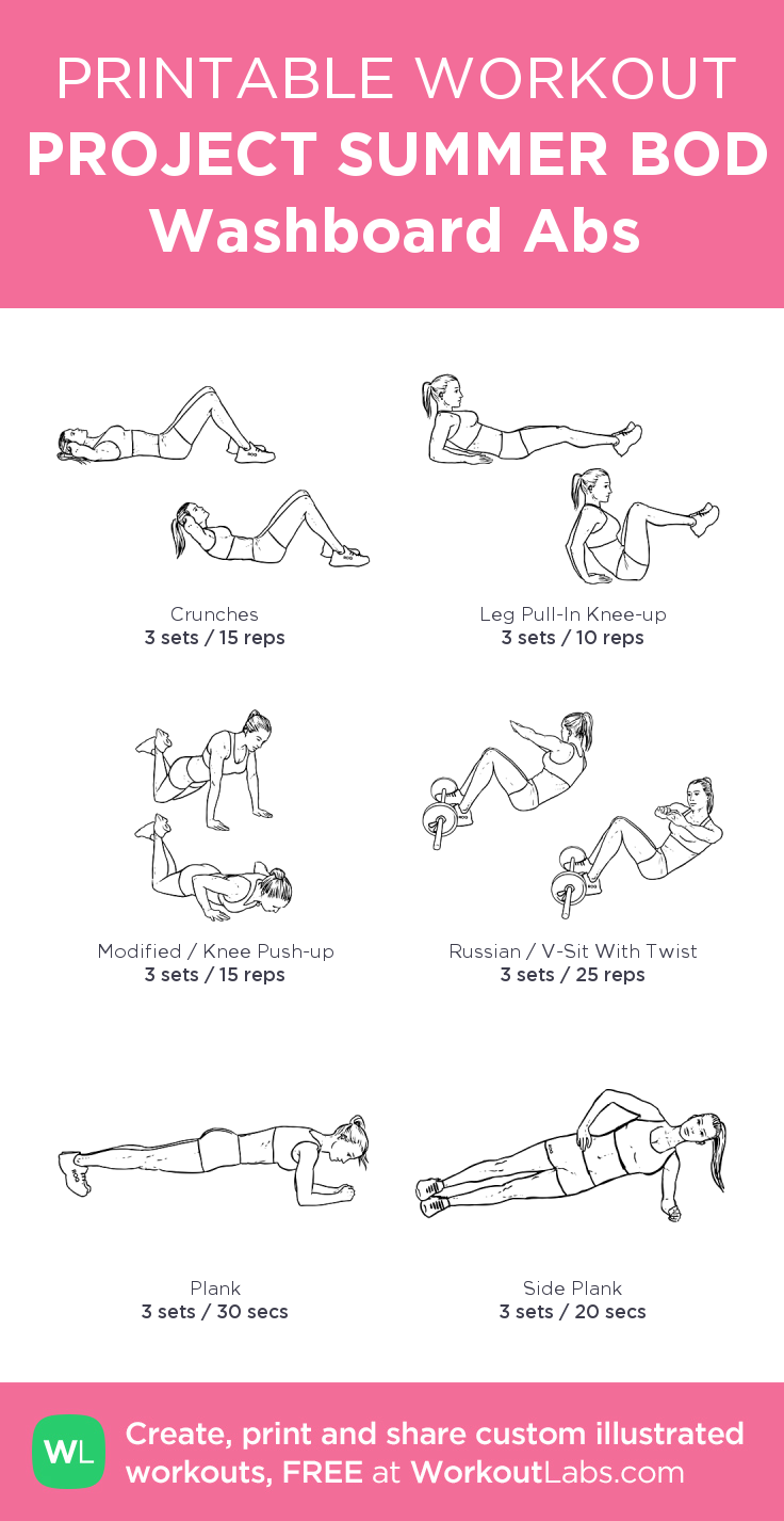 PROJECT SUMMER BOD Washboard Abs:my visual workout created at WorkoutLabs.com • Click through to customize and download as a FREE PDF! #customworkout