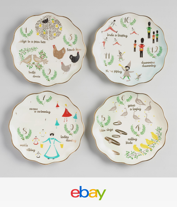 12 Twelve Days Of Christmas Plates Set Of 4 By World Market Christmas Plate Set Christmas Plates Twelve Days Of Christmas