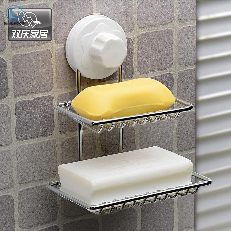 Double Layer Soap Box Soap Dishes Fashion Strong Suction Cup Water Bunk Soap Holder Stainless Steel Bath Basket A388 Icon2 Steel Bath Bath Tray Layered Soap