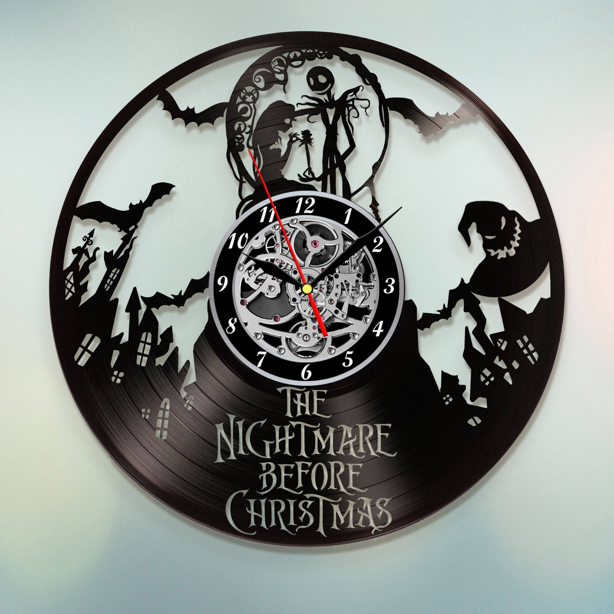 Nightmare Before Christmas Vinyl record clock Jack Skellington Home ...