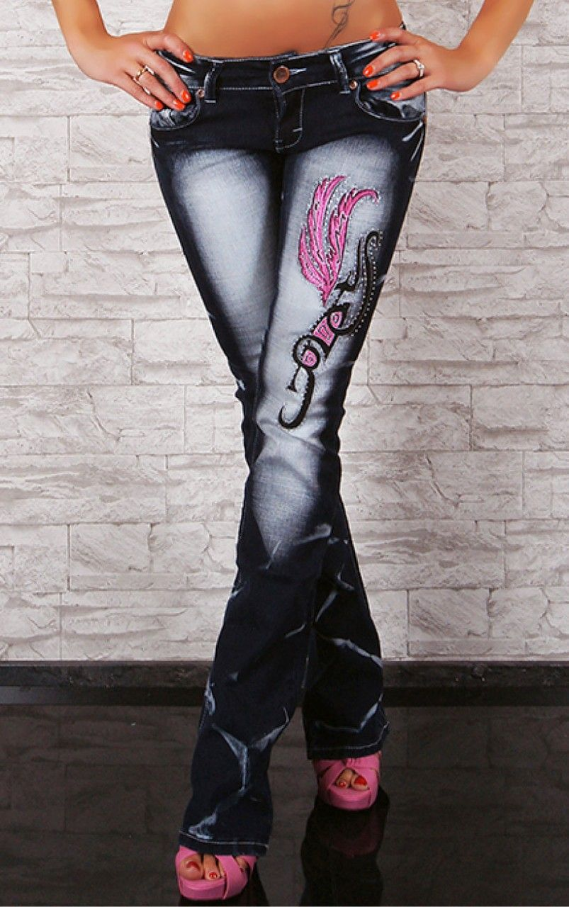 Details about SEXY CRAZY AGE JEANS PINK TATTOO OPEN BOOT | Sexy ...