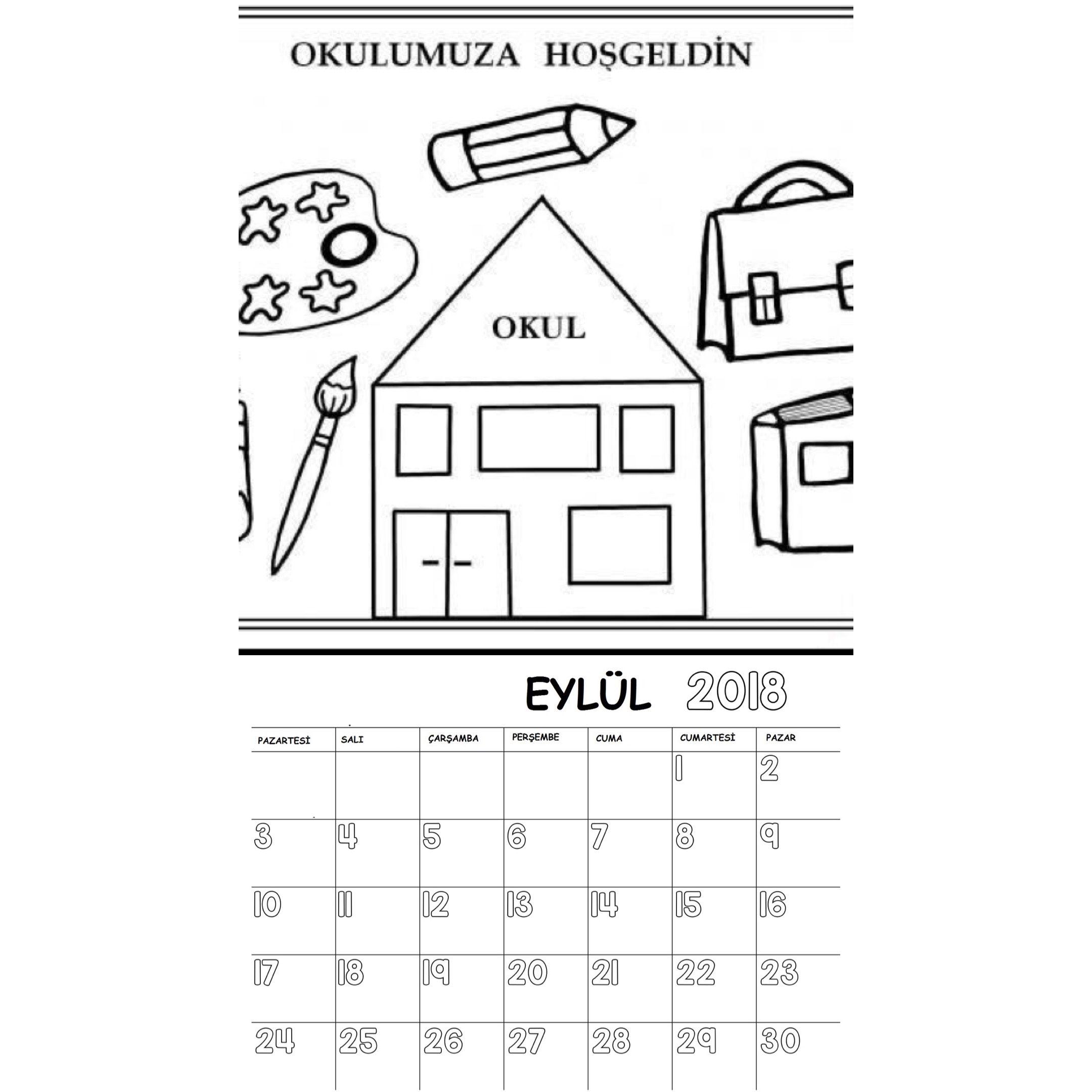 Okul öncesi 2018 Boyama Sayfalı Takvimi Anneler Günü