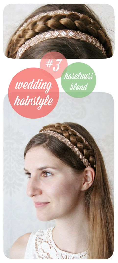haselnussblond - wedding ahirstyle - headband - pearls - braid - crown - crownbraid