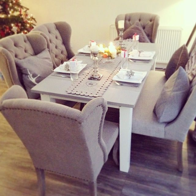 Dream dining area, chairs from @peppermillantiques dining bench libra dining bench so happy with how this turned out.