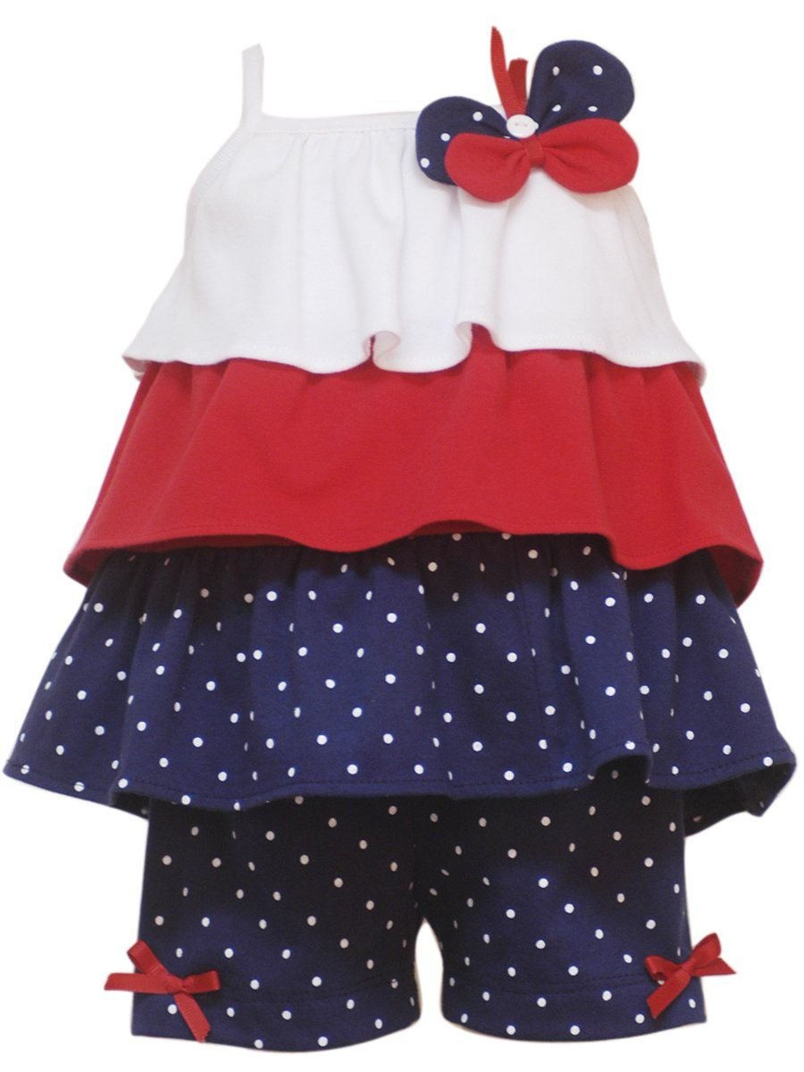 Rare Editions Baby Girls' Short Set, Navy/Red/White, 12 Months