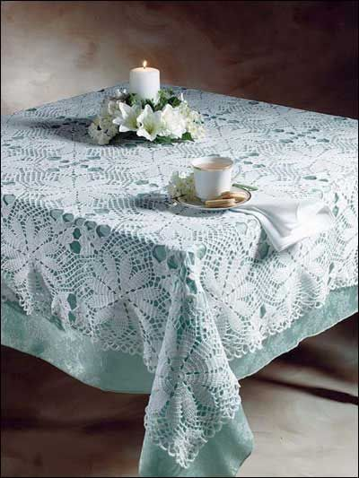 Crochet A Beautiful White Tablecloth Using Size 10 Thread. Free Crochet  Pattern