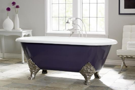 Color Of The Month Decorating With Aubergine Cast Iron Bathtub
