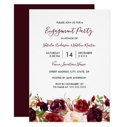 Marsala burgundy red floral engagement party card engagement marsala burgundy red floral engagement party card engagement engagement party invitations and wedding invitation cards stopboris Choice Image