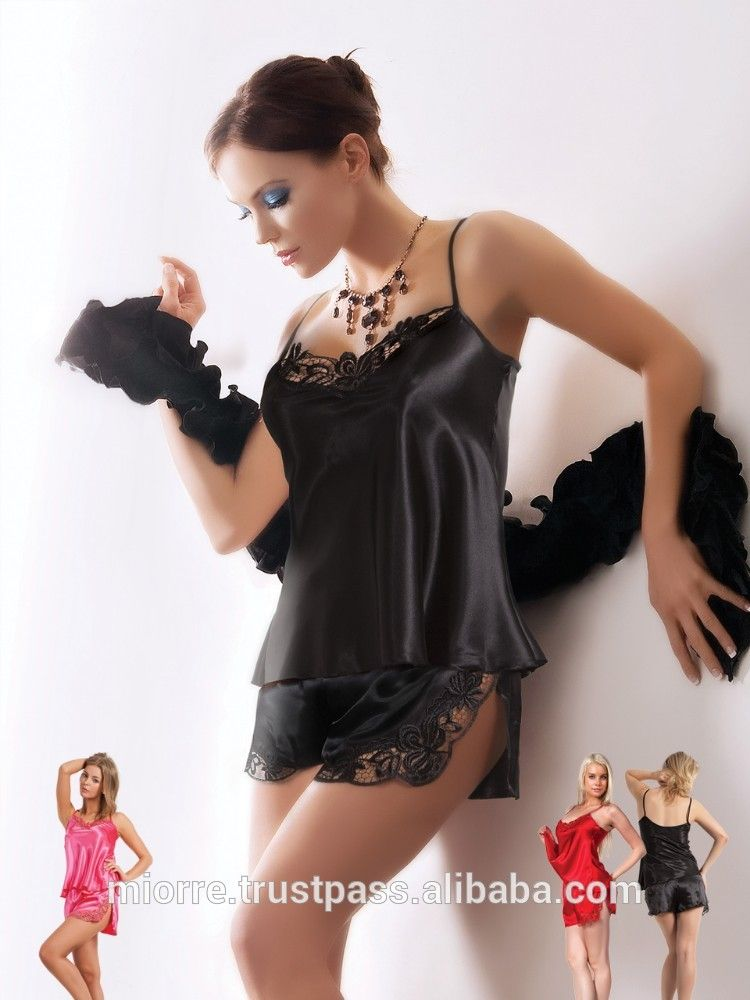 ab44f1db7 Miorre Fashion Black Satin Lingerie With Shorts - Buy Sexy Satin  Lingerie