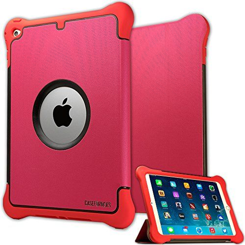 iPad Air 2 Case, CASEFORMERS Armor Shield Cover Flip Case with Stand for iPad Air 2 – Red