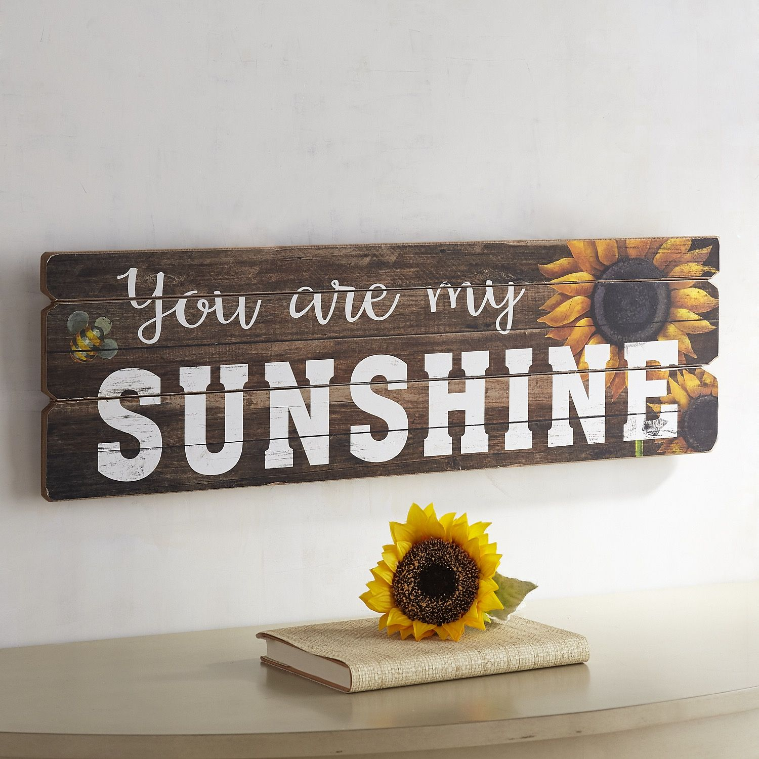 You Are My Sunshine Planked Wall Decor Apartment Therapy Sunflower Bathroom Home