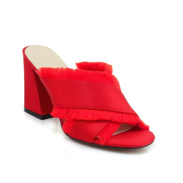 548fcff240724a Summer Satin High Heels Women Slippers Hoof Heels Tassel Female Mules Shoes  Cross Tied Peep Toe