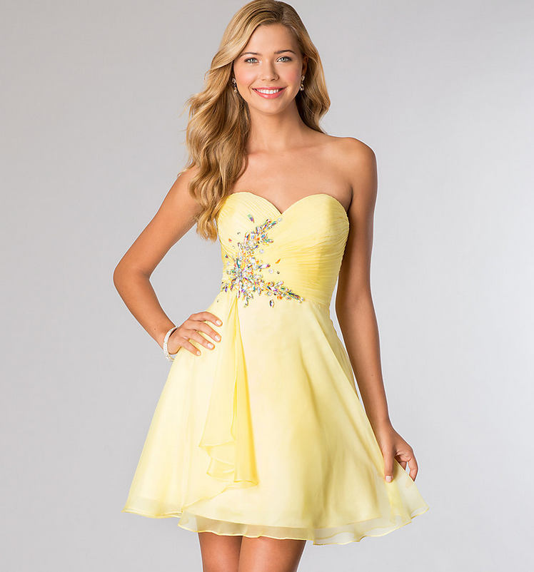 Collection Yellow Homecoming Dress Pictures - Reikian