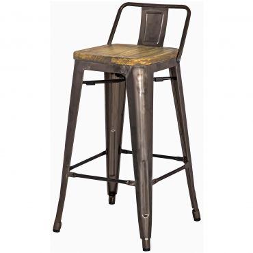 Tolix Low Back Counter Stool Wood Seat Gunmetal Metal Counter