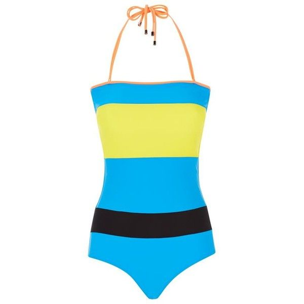 Roksanda Colour Block Halter Swimsuit (€485) ❤ liked on Polyvore featuring swimwear, one-piece swimsuits, halter one piece swimsuit, swimsuit swimwear, halter bathing suit, retro bathing suits and retro one piece swimsuits