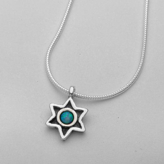 54ef4513b Shablool Didae Israel Blue Opal Gemstone 925 Sterling Silver Pendant ...