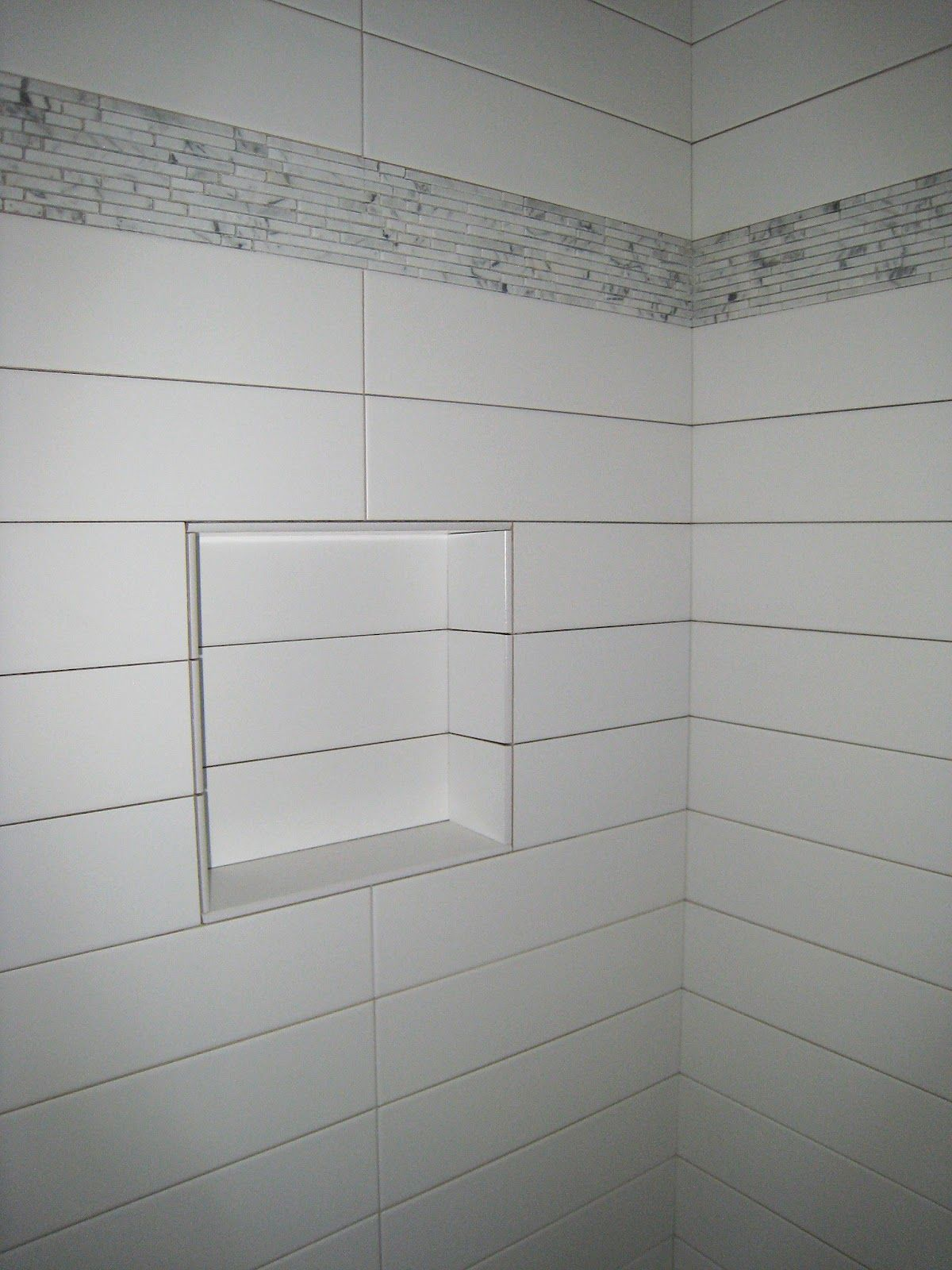 Shower Niche Dual Stacked With Larger Then Life Subway Tiles By
