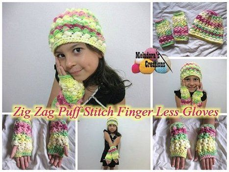 Zig Zag Puff Stitch Finger less Gloves – Free Crochet Pattern | FREE Crochet Patterns | Scoop.it