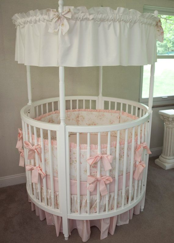 Round Crib Baby Girl Bedding Vintage Floral Shabby Chic Baby Pink