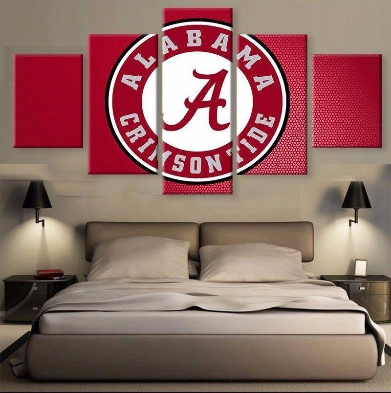 Hot 5 Panel Alabama Crimson Tide Wall Art For Living Room Wall