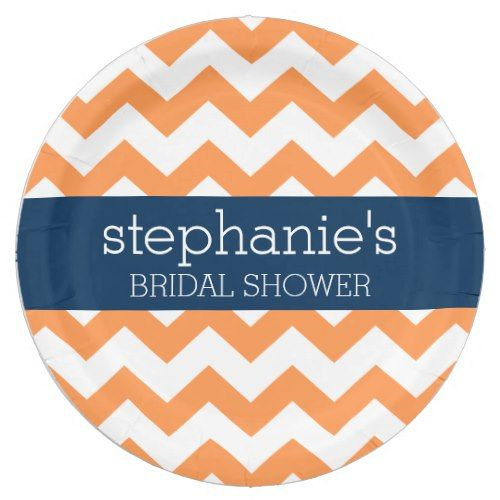 Navy Blue and Orange Chevron Pattern Bridal Shower Paper Plate  sc 1 st  Pinterest & Navy Blue and Orange Chevron Pattern Bridal Shower Paper Plate ...