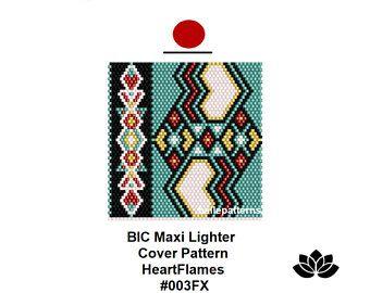 peyote pattern,lighter pattern pdf, #003FX, BIC lighter cover pattern, maxi lighter cover,instant pdf download,digital file,bellepatterns