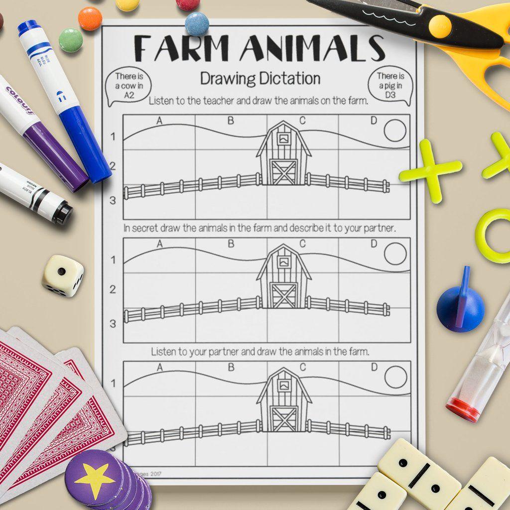 Farm Animal Drawing Dictation Game