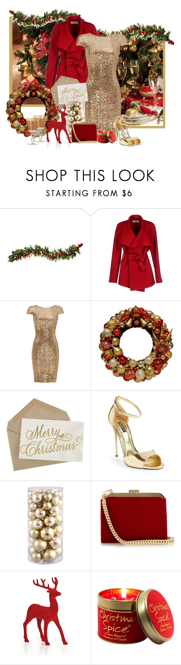 """""""Red and Gold"""" by kimzarad1 ❤ liked on Polyvore featuring BGN, Badgley Mischka, Dolce&Gabbana, Balmain, Lily-Flame, Patina Vie, RedAndGold and HolidayParty"""