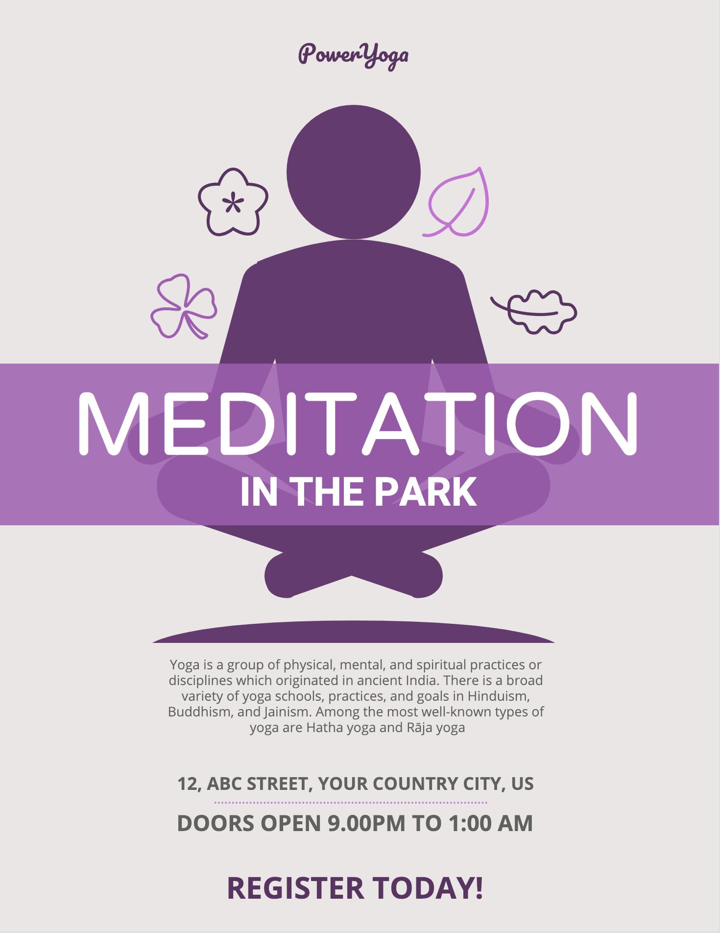 Meditation Event Poster Yoga Poster Design Event Poster
