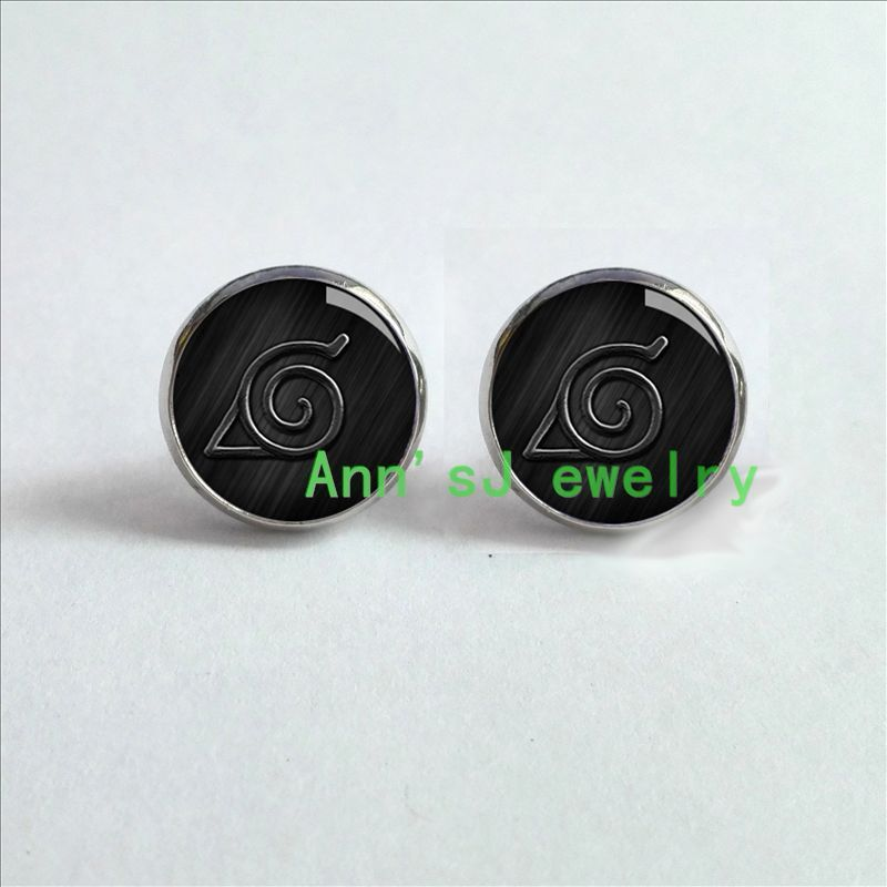 Naruto Akatsuki metal earring ear stud earrings anime Ear Ring one pair new