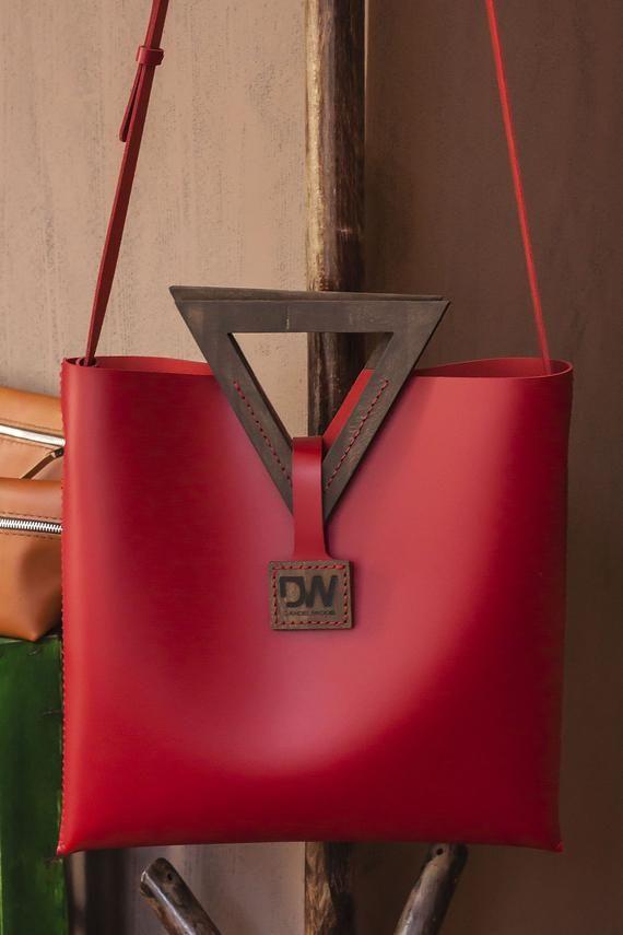 Photo of Genuine Leather Bag, Wooden Bag, Handmade Women's Bag, Wood Handle Bag, Shoulder Bags, Wooden Bag