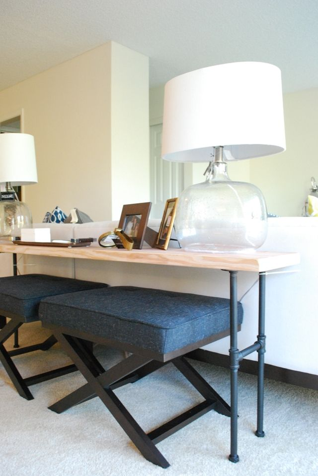 DIY Industrial Sofa Back Table