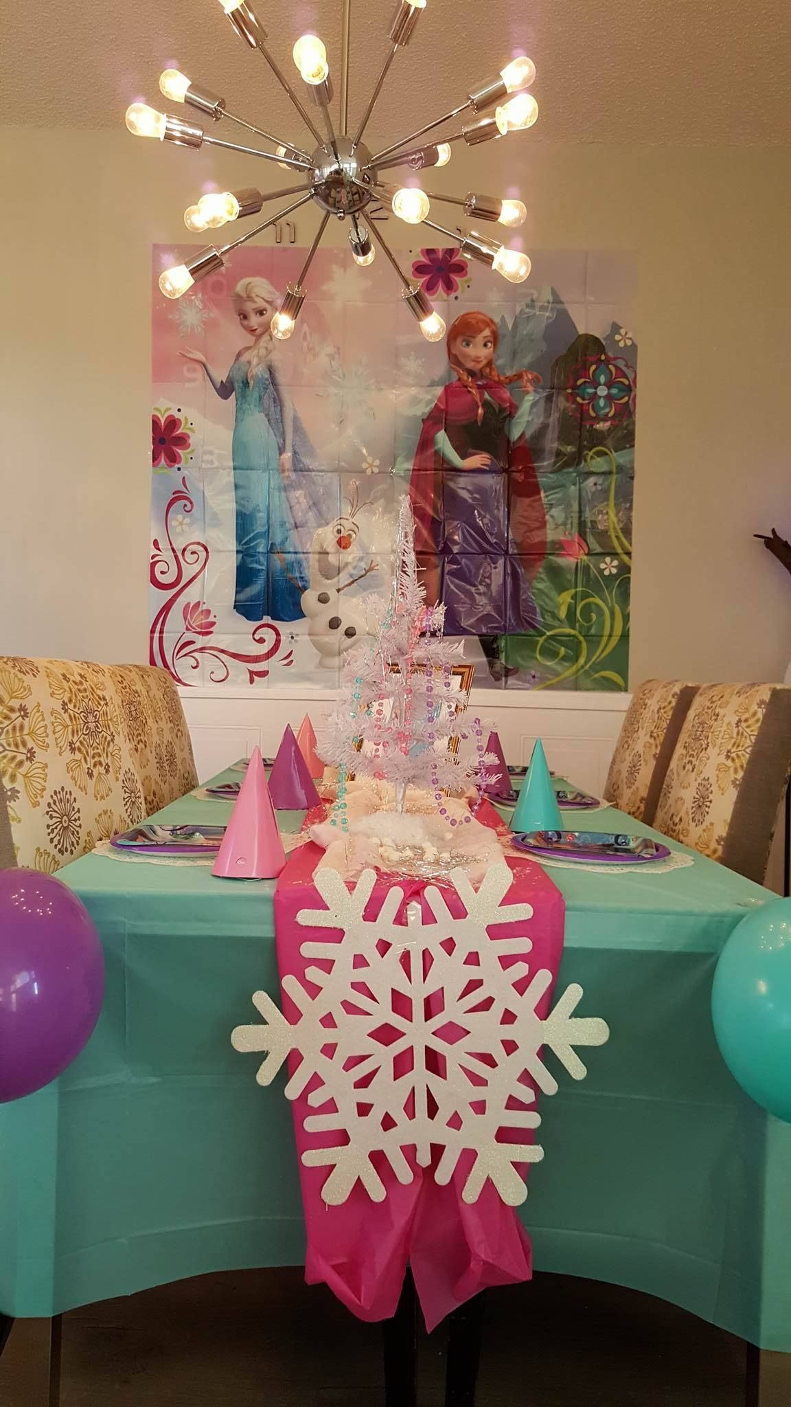Frozen Themed Birthday Party Table Is Done With Dollar Tree Stuff Frozen Themed Birthday Party Table Decorations Birthday Party Themes