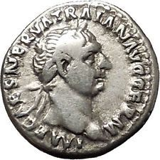 Trajan 98AD Authentic Ancient Silver Roman Coin Abundantia Prosperity i53286
