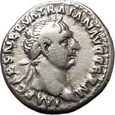 Trajan 98AD Authentic Ancient Silver Roman Coin Abundantia Prosperity i53286