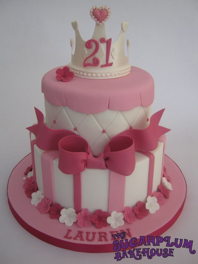 2 Tier Girly Princess 21st Birthday Cake 2 Tier White Cake
